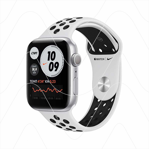 Часы Apple Watch Nike Series 6 44mm Silver Aluminum Case with Nike White Sport Band (РСТ)