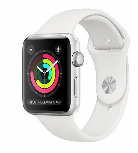 Apple Watch Series 3 42mm Silver Aluminum Case White Sport Band