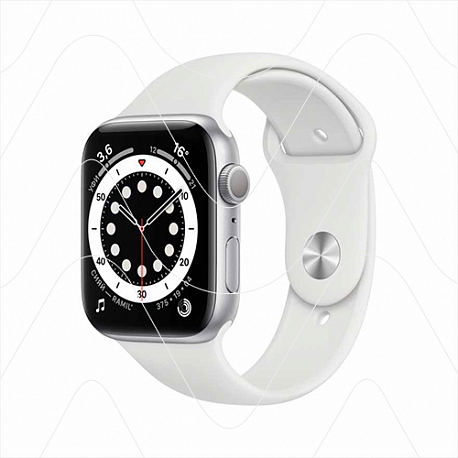 Часы Apple Watch Series 6 44mm Silver Aluminum Case with White Sport Band (РСТ)