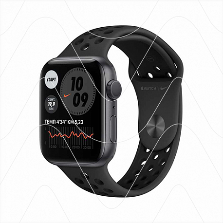 Часы Apple Watch Nike Series 6 44mm Space Gray Aluminum Case with Nike Black Sport Band (РСТ)